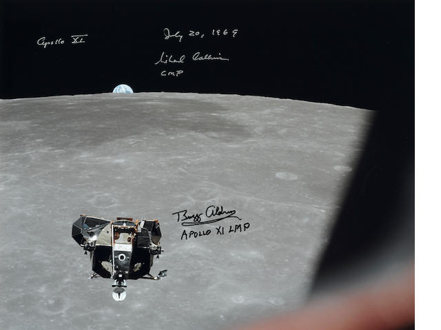 APOLLO 11 - EAGLE OVER THE MOON. SIGNED BY COLLINS AND ALDRIN.
