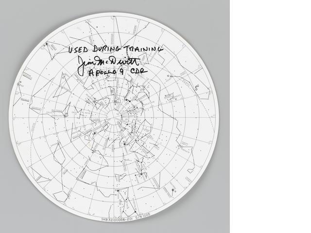 APOLLO 9 CIRCULAR STAR CHART - SIGNED BY MCDIVITT.