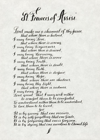 ST. FRANCIS OF ASSISI POEM CARRIED ON APOLLO 15 BY JAMES IRWIN.