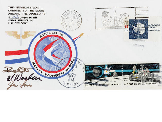 UNAUTHORIZED POSTAL ENVELOPE CARRIED TO THE LUNAR SURFACE ON APOLLO 15. NEVER APPROVED BY NASA BEFORE THE FLIGHT.