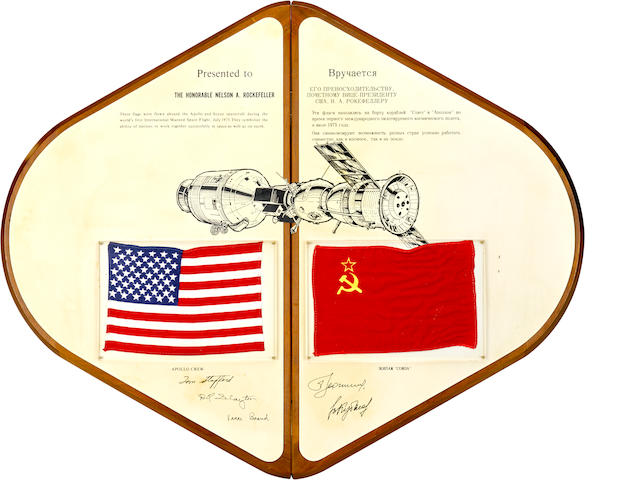 END OF THE SPACE RACE. FLOWN FLAGS FROM ASTP, THE SYMBOLIC END OF THE SPACE RACE, BEING  AMERICAN AND SOVIET FLAGS FLOWN ABOARD THE APOLLO AND SOYUZ SPACECRAFTS.