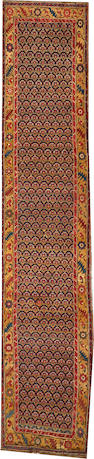 A Bidjar runner Northwest Perisa size approximately 3ft. 6in. x 16ft. 10in.