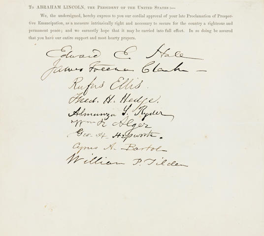 [EMANCIPATION PROCLAMATION.] HALE, EDWARD EVERETT, et al. Printed Document Signed by 9 people, 1 p,