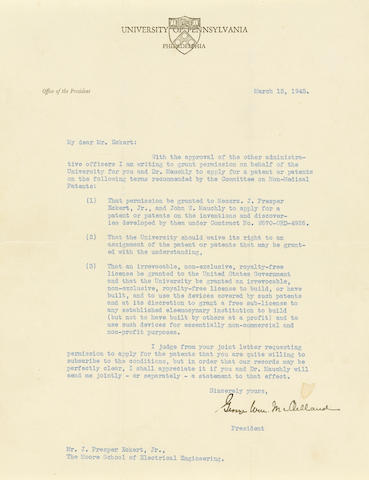 "COMPUTING—ENIAC. MCCLELLAND, GEORGE WILLIAM. 1880-1955. Typed Letter Signed (""George Wm. McClelland""), 1 p, 4to,"