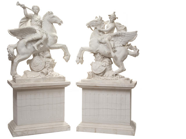 A pair of Louis XIV style marble figures of Fame and Mercury on pedestals after models  by Antoine Coysevox (French, 1640-1720)