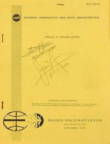 APOLLO 13. SIGNED BY LOVELL AND HAISE. Apollo 13 Mission Report. MSC-02680. Houston: NASA Manned Spacecraft Center, September 1970.