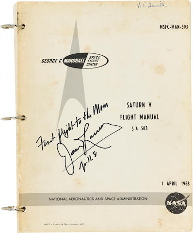 APOLLO 8 - SATURN V FLIGHT MANUAL. SIGNED BY LOVELL. Saturn V Flight Manual. MSFC-MAN-503.  Huntsville, Alabama: NASA/MSFC, April 1, 1968.