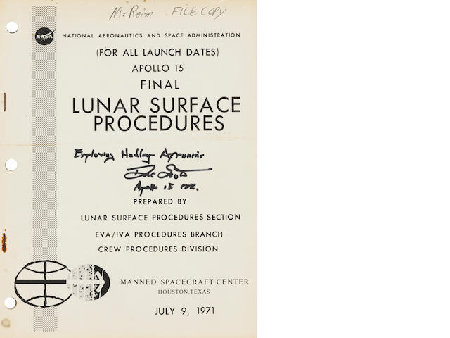 APOLLO 15 LUNAR SURFACE PROCEDURES. SIGNED BY SCOTT. (For All Launch Dates). Apollo 15 Final Lunar Surface Procedures. Houston: NASA/Manned Spacecraft Flight Center, July 9, 1971.