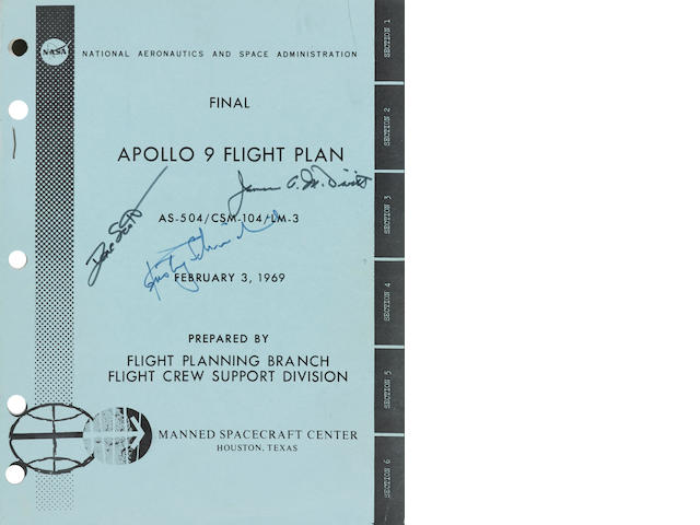 APOLLO 9- THE PLAN FOR THE FIRST MANNED LM FLIGHT. SIGNED BY THE CREW. Final Apollo 9 Flight Plan, AS-504/CSM-104/LM-3.  Houston, TX: NASA/MSC, February 3, 1969.