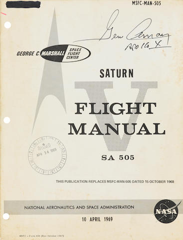 APOLLO 10 SATURN V FLIGHT MANUAL. SIGNED BY CERNAN. Saturn V Flight Manual. SA 505. MSFC-MAN-505.  Huntsville, Alabama: NASA/MSFC, April 10, 1969.