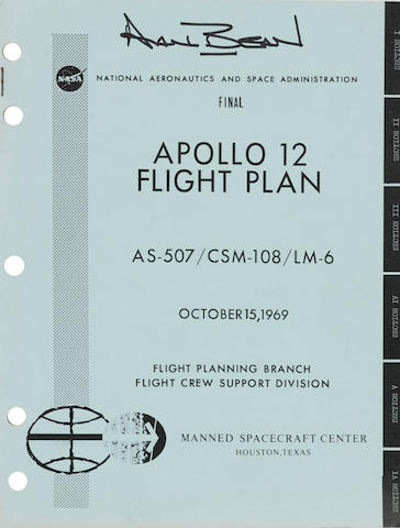 APOLLO 12- PLANS FOR MAN'S SECOND LUNAR LANDING. SIGNED BY BEAN. Apollo 12 Flight Plan, Final AS-507/CSM-108/LM-6.  Houston, TX: NASA/MSC, October 15, 1969.