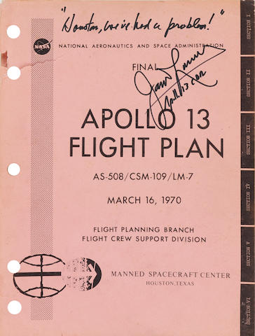 APOLLO 13. SIGNED BY LOVELL. Final Apollo 13 Flight Plan. AS-508/CSM-109/LM-7.  Houston: NASA/Manned Spacecraft Flight Center, March 16, 1970.
