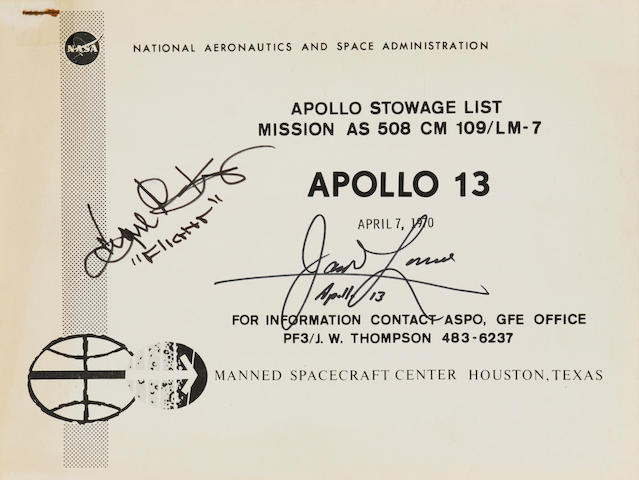 APOLLO 13 STOWAGE LIST. Apollo Stowage List. Mission AS 508 CM 109/LM-7. Apollo 13. WITH: Apollo Stowage List Revision Notice. Houston: NASA Manned Spacecraft Center, April 7, 1970.