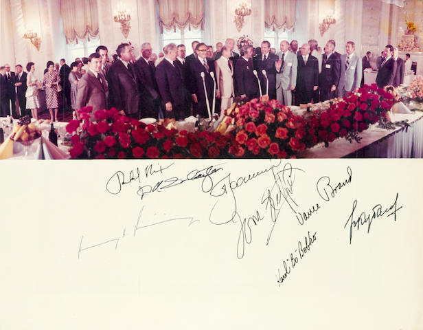 COOPERATION IN SPACE. SIGNED BY NIXON, KISSINGER AND THE FULL APOLLO-SOYUZ CREW.