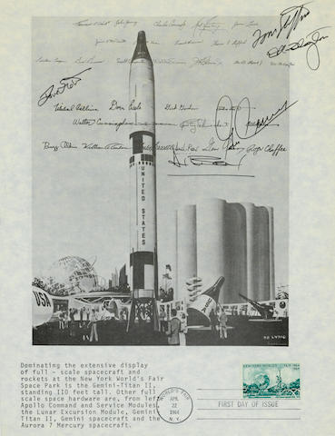 PROJECT GEMINI—FIRST DAY POSTMARK—SIGNED BY SCOTT, STAFFORD, SLAYTON, CERNAN AND BEAN.