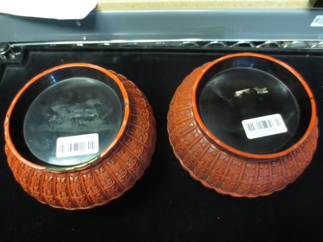 A pair of cinnabar lacquer boxes Qing dynasty