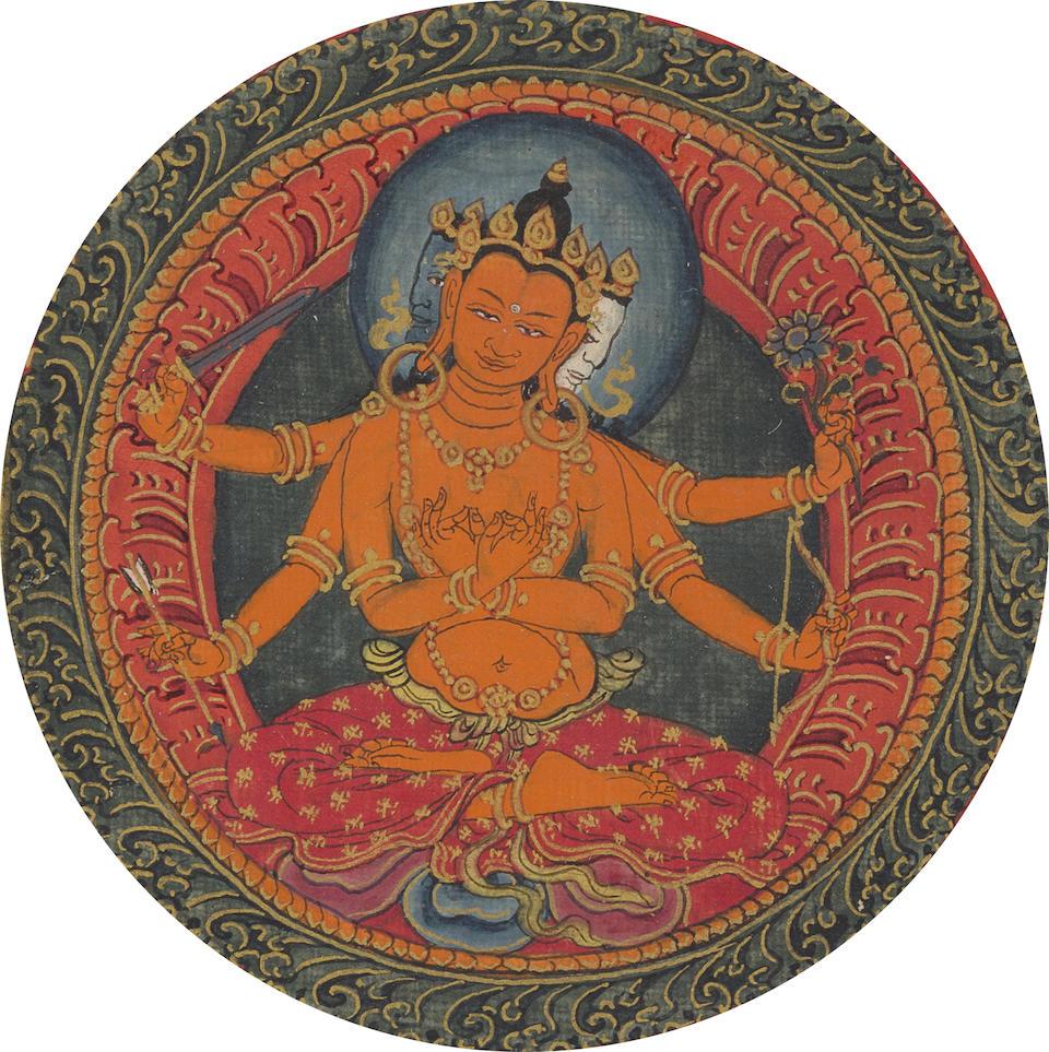 A Thirty-Two-Deity Guhyasamaja Mandala Tibet, Ngor monastery, circa 1520-1533