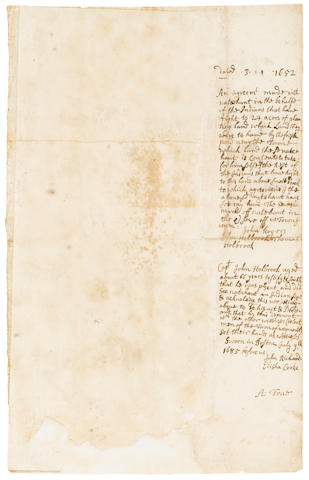 NATIVE AMERICAN LAND DEED—MASSACHUSETTS. [NATAHUNT.] Manuscript Document, being an early