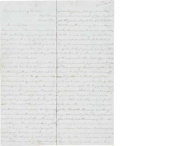 "TEXAS—FROM A FEMALE MEXICAN WAR CORRESPONDENT. ""SOLARISSA, ALIAS M.M. LEE."" Autograph Letter Signed (""Solarissa alias M.M. Lee""),"