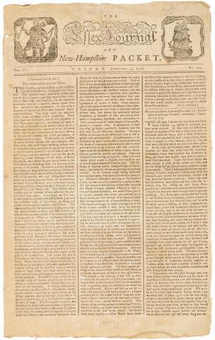 Bonhams Revere Masthead The Essex Journal And New Hampshire Packet Newburyport Ma Printed By John Mycall February 9 1776 Vol 3 No 110