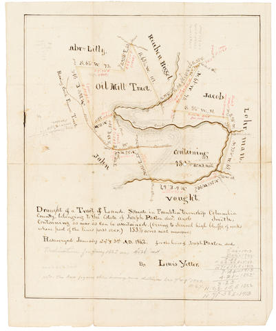 "PENNSYLVANIA OIL BOOM. YETTER, LOUIS. Manuscript map, ""The Oil Mill Tract at the Pinnacle, on Big Roaring Creek,"""