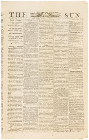 EMANCIPATION PROCLAMATION. The Sun. New York: January 3, 1863.