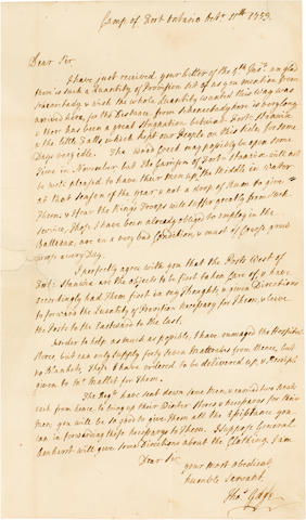 """GAGE, THOMAS. 1718/19-1787. Autograph Letter Signed (""""Tho.s Gage""""),"""