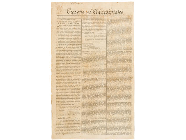 THANKSGIVING. [WASHINGTON, GEORGE.] Gazette of the United States. New York: printed by John Fenno, October 7, 1789. No 51.