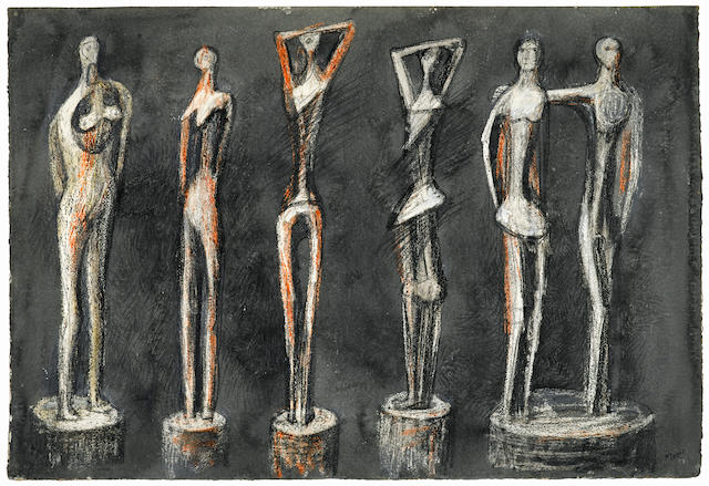 Henry Moore O.M., C.H. (British, 1898-1986) Six Standing Figures 39.4 x 57 cm. (15 1/2 x 22 1/2 in.)