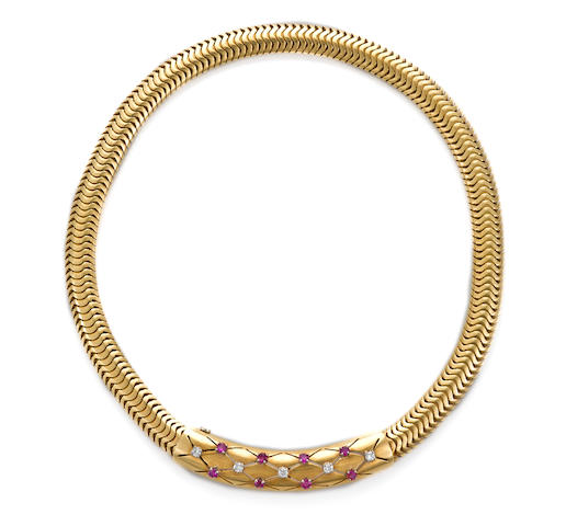 A retro ruby and diamond choker necklace,