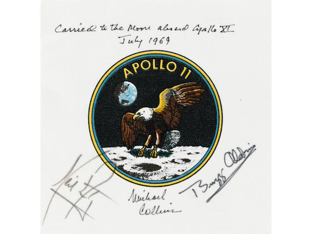 COLLINS' FLOWN CREW-SIGNED APOLLO 11 EMBLEM. A RARE FLOWN ARMSTRONG-SIGNED MISSION ARTIFACT.