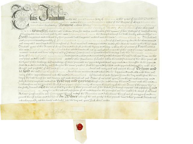 "PENN, WILLIAM. 1644-1718. Manuscript Document Signed (""Wm Penn""),"