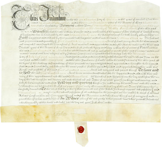 "PENN, WILLIAM. 1644-1718. Manuscript Document Signed (""Wm Penn""),"
