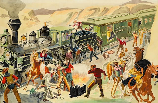 "[BUFFALO BILL.] Original watercolor, ""The Great Train Hold-Up & Bandit Hunters of the Union Pacific,"""