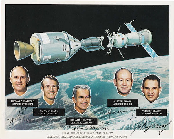 SIGNED BY THE ENTIRE CREW OF HISTORY'S FIRST INTERNATIONAL SPACE MISSION.