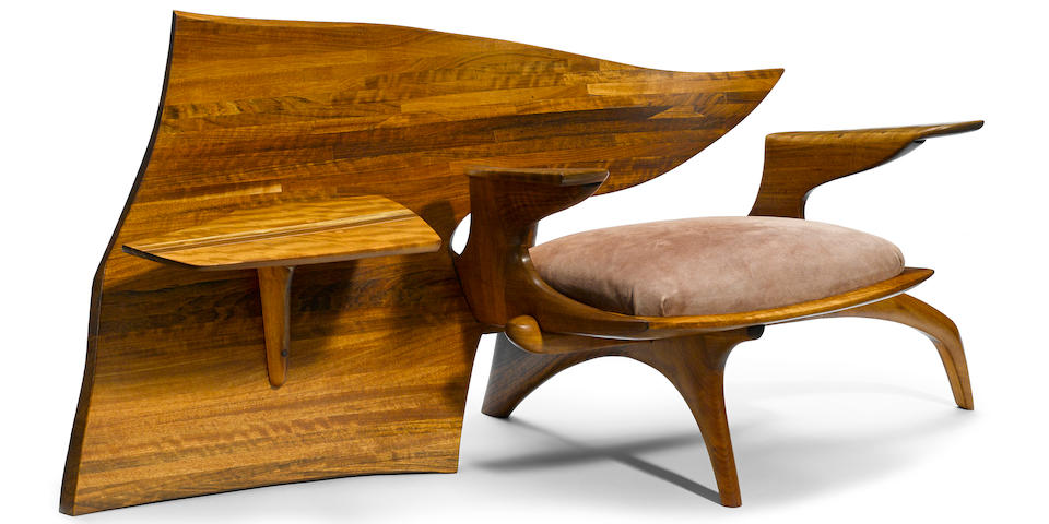 Jack Rogers Hopkins (American, 1921-2006) Sculpted Chair with Attached Table, 1970s