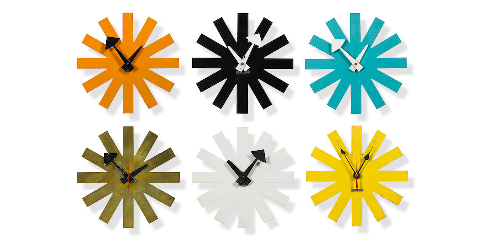 A complete set of six George Nelson Associates Asterisk wall clocks Model 2213, designed circa 1953, these examples manufactured by the Howard Miller Clock Company, circa 1960