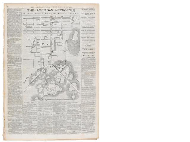 GETTYSBURG ADDRESS. LINCOLN, ABRAHAM. 1809-1865. The New York Herald. New York: November 20, 1863. Whole Number 9926.