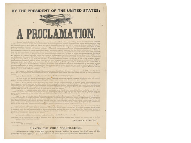 EMANCIPATION PROCLAMATION.  LINCOLN, ABRAHAM. By the President of the United States: A Proclamation. [Boston?: J.M. Forbes? ca.December 1862.]