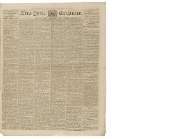 LINCOLN'S COOPER UNION ADDRESS. New-York Semi-Weekly Tribune. New York: February 28, 1860.