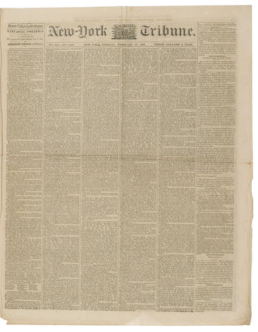 LINCOLN'S COOPER UNION ADDRESS. New-York Semi-Weekly Tribune. New York: February 28, 1860.