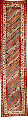 A Gendje runner  Caucasus size approximately 3ft. 3in. x 14ft. 7in.