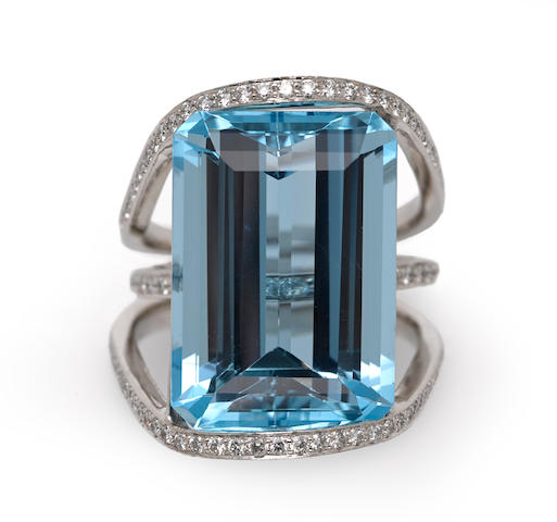 An aquamarine and diamond ring, I. Friedman & Sons