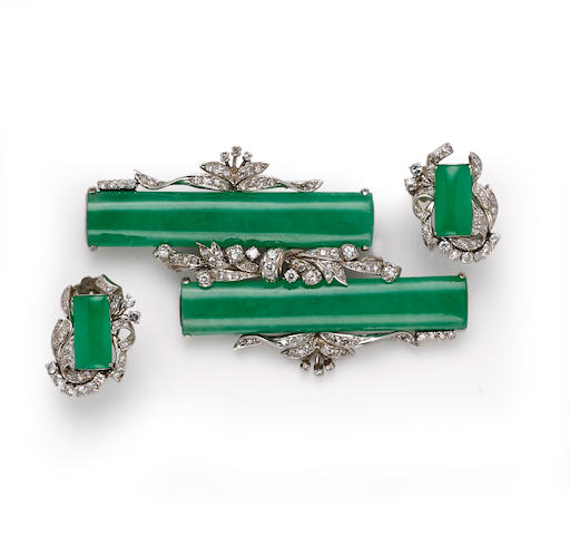 A jadeite jade and diamond brooch together with a pair of coordinating screwback earrings