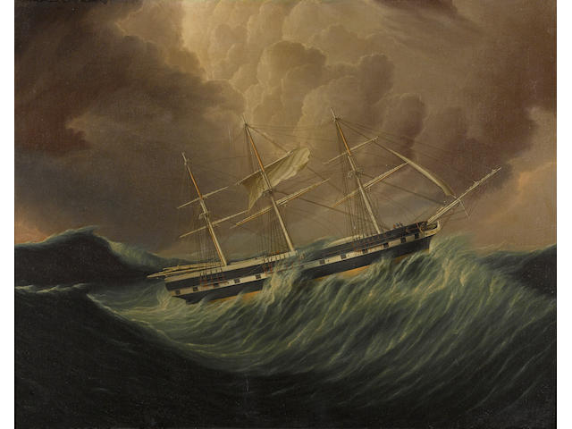 James Edward Buttersworth (British/American, 1817-1894) The packet ship St. Patrick in rough seas 24 x 32 in. (60.9 c 81.2 cm.)