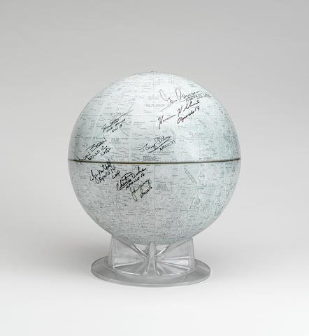 MOONWALKERS - LARGE LUNAR GLOBE SIGNED BY 8, PLUS 3 OTHERS WHO FLEW TO THE MOON. Replogle Lunar Globe. Chicago, c. 1980.