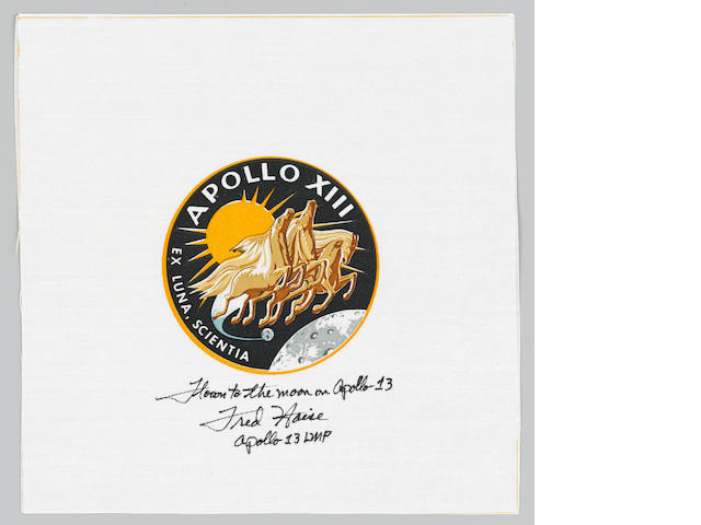 FRED HAISE'S FLOWN APOLLO 13 BETA CLOTH EMBLEM - SIGNED.