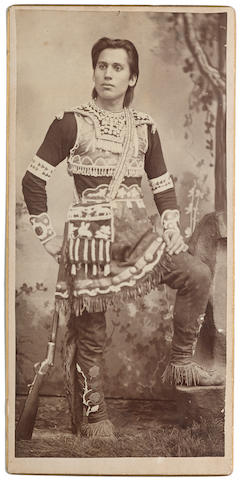 MODOC CHIEF. Albumen print, 7 3/4 x 3 11/16 inches, on gilt-edged bevelled mount, Warm Springs, Colorado, [c.1880],