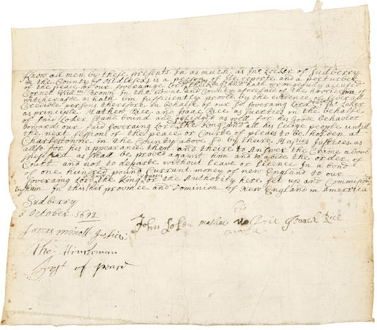 SALEM WITCH TRIALS. Manuscript Document variously signed,