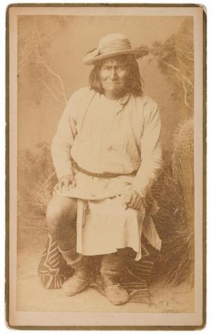 GERONIMO. 1829-1909. RANDALL, A.F. Albumen print boudoir cabinet card,